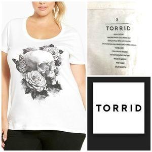 NWT Torrid Plus Sz 3 White Skull Rose T Shirt